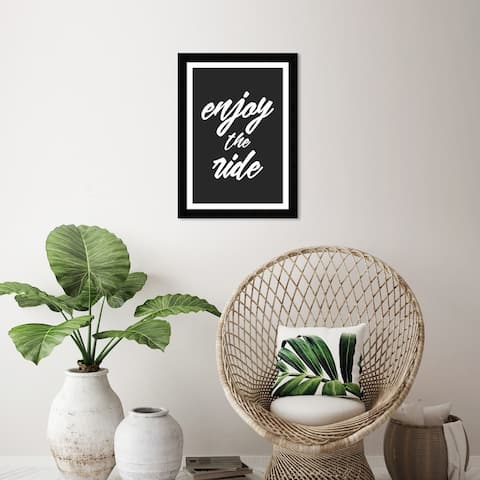Wynwood Studio 'Enjoy The Ride Grey' Typography and Quotes Black Wall Art Framed Print