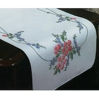 "Stamped White Dresser Scarf For Embroidery 14""X39""-Wild Rose"
