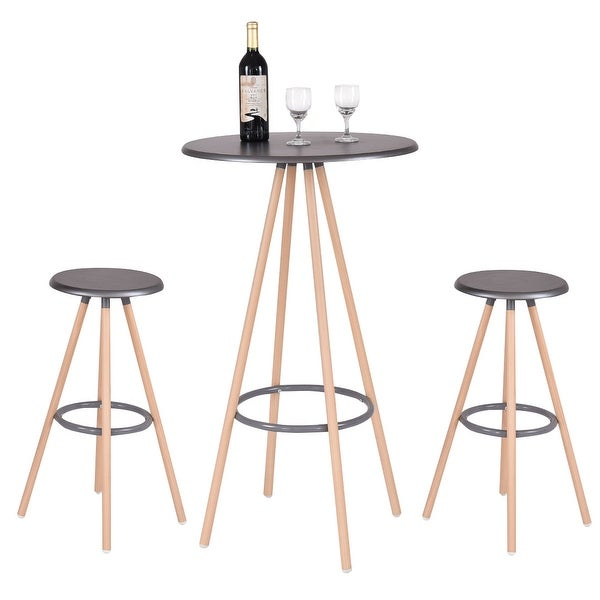 3 Piece Dining Set Bar Stools Pub Table Breakfast Chairs: Shop Costway 3 Piece Bar Table Set W/ 2 Stools Bistro Pub