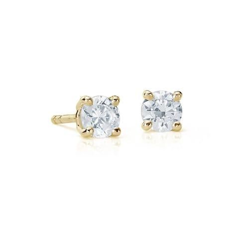 Suzy Levian 14K Yellow Gold 0.25 ct. tw. Diamond Stud Earrings - White