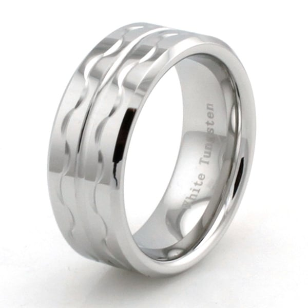 Hand Carved White Tungsten Ring w/ Wave Design