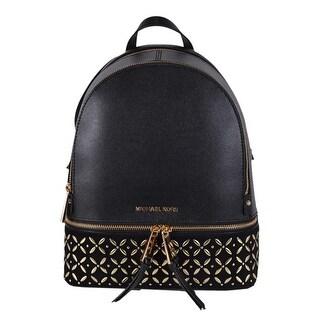 "Michael Kors Medium Black Leather Embellished RHEA Backpack Bag - 10"" x 11.75"" x 4.5"""