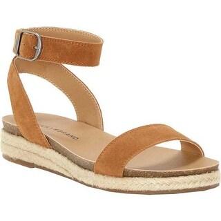 Lucky Brand Women's Garston Ankle Strap Sandal Peanut Oil Suede