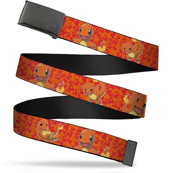 Blank Black Buckle Charmander Poses Flames Orange Red Webbing Web Belt