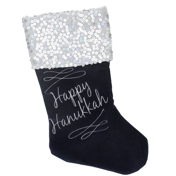 """19"""" Navy and Silver """"Happy Hanukkah"""" Sequin Cuff Embroidered Velvet Stocking - Blue"""