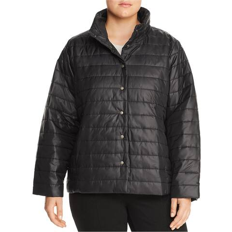 Eileen Fisher Womens Puffer Quilted Jacket, black, 1X