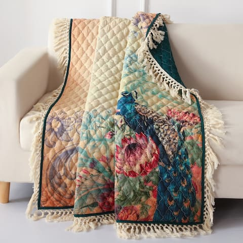 Barefoot Bungalow Eden Peacock Fringed and Quilted Throw Blanket