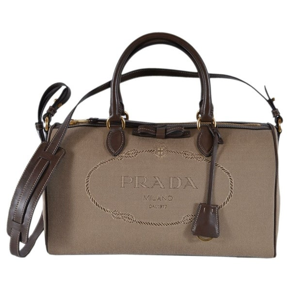 d236a7a011f6 Prada 1BB676 Logo Jacquard Bauletto Boston Convertible Handbag Satchel -  Beige/Brown