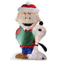"32"" Pre-Lit Peanuts Charlie and Snoopy 2-D Christmas Outdoor Decoration"