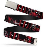 "Blank Chrome 1.0"" Buckle Deadpool 2 Action Poses Splatter Logo Black Red Web Belt 1.0"" Wide - S"