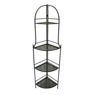 4 Tier Brown Metal Decorative Corner Rack Display Shelf 61 inch