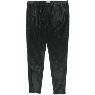 French Connection Womens Skinny Pants Coated Metallic