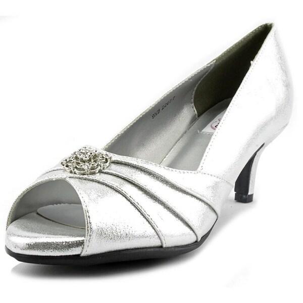Dyeables Kristin Women Peep-Toe Synthetic Silver Heels