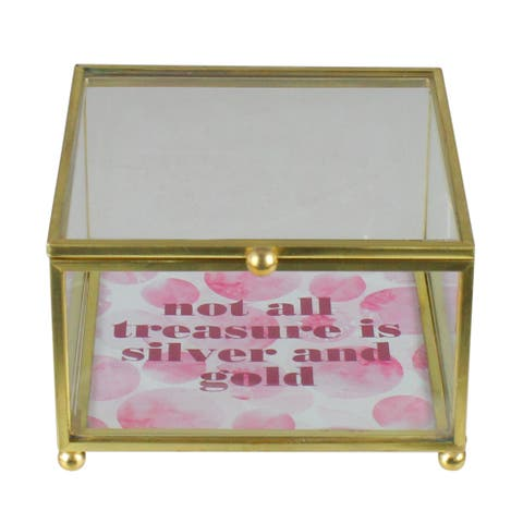 """4.25"""" Gold Finished """"not all treasure is silver and gold"""" Keepsake Box with Lid - N/A"""