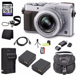 Panasonic Lumix DMC-LX100 12.8MP Silver Digital Camera 16GB Bundle
