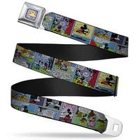 Mickey's Glove Purple Rays Full Color Mickey & Minnie Comic Strip Webbing Seatbelt Belt