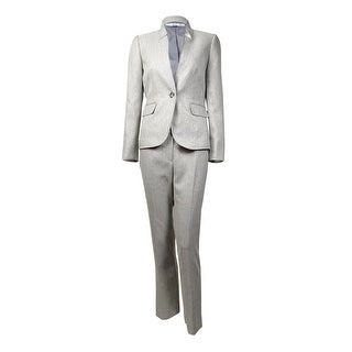 Tahari Women's Notched Single Button Herringbone Pant Suit