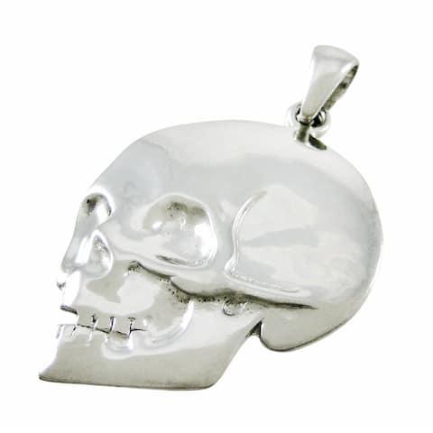 Silvertone Skull Pendant - One Size