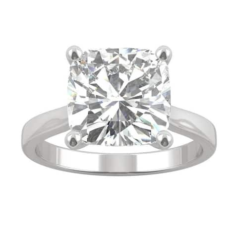 14k White Gold Moissanite by Charles & Colvard Cushion Solitaire Ring 4.20 TGW