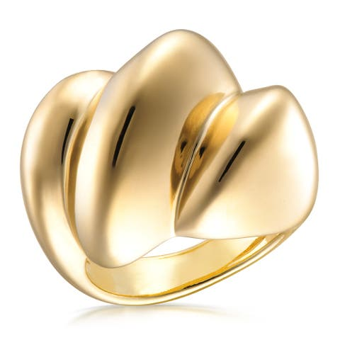 Forever Last 18 kt Gold Plated Women's Polished Fashion Ring
