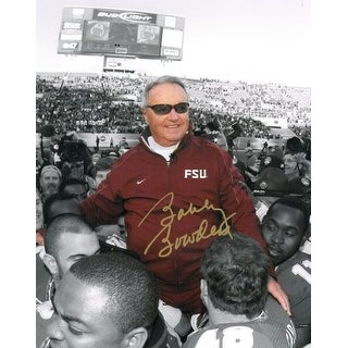 Bobby Bowden signed Florida State Seminoles 8x10 Photo Final Game Carryoff Spotlight