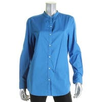Lauren Ralph Lauren Womens Button-Down Top Cotton Long Sleeves