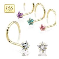14 Karat Solid Yellow Gold Prong Star CZ Nose Screw Ring - 20 GA (Sold Ind.)
