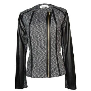 Calvin Klein Women's Faux Leather Trim Marled Moto Jacket - xs
