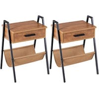 Gymax 2PCS Accent End Side Sofa Table Nightstand Drawer Storage W/Magazine Holder - as pic