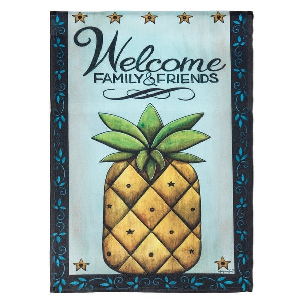"""Yellow """"WELCOME FAMILY AND FRIENDS"""" Pineapple Printed Garden Flag 42"""" x 29"""" - N/A"""