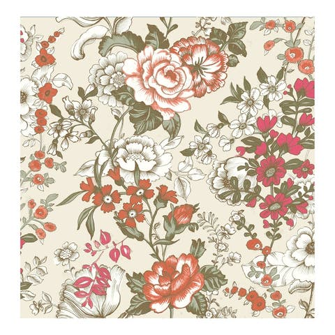 Ainsley Red Boho Floral Wallpaper - 20.5in x 396in x 0.025in