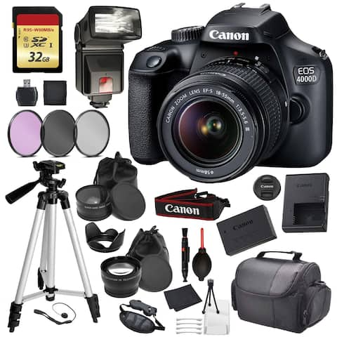 Canon EOS Rebel 4000D with EF-S 18-55mm f/3.5-5.6 DC III Lens Kit Pro Accessory Bundle - Intl Model