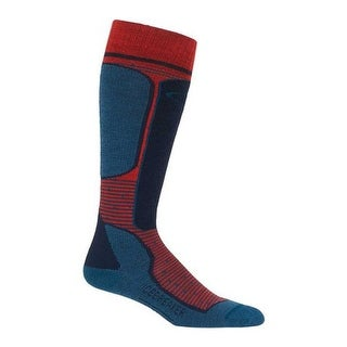 Icebreaker Men's Ski+ Lite Over the Calf Chili Red/Prussian Blue/Midnight Navy