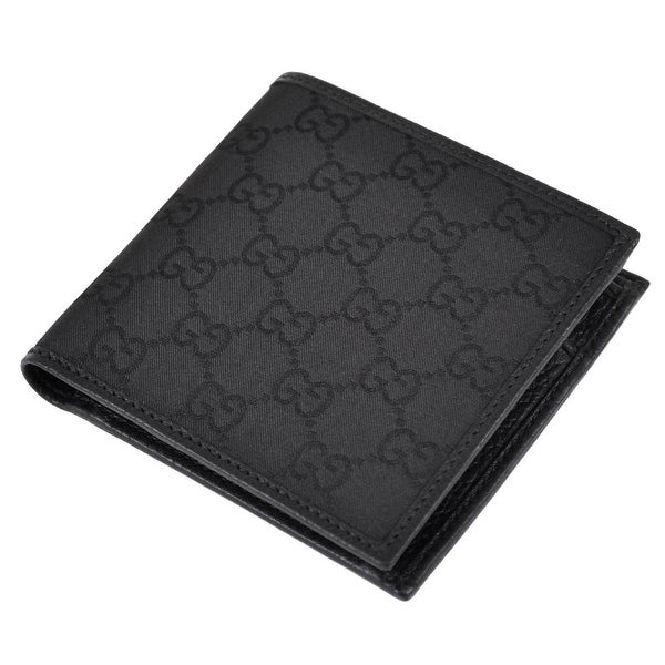 047a9a1b796 Gucci Men  x27 s 150413 Black Canvas GG Guccissima Coin Pocket Bifold Wallet