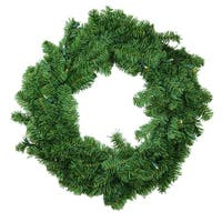 """24"""" B/O Pre-Lit LED Canadian Pine Artificial Christmas Wreath - Clear Lights - green"""