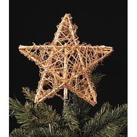 "9"" Gold Rattan 3-Dimensional Star Christmas Tree Topper - Clear Lights"