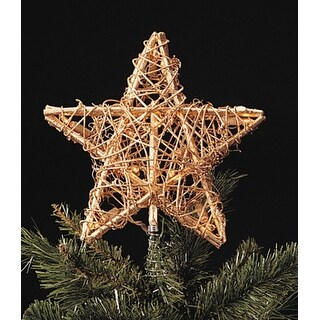 """9"""" Gold Rattan 3-Dimensional Star Christmas Tree Topper - Clear Lights"""