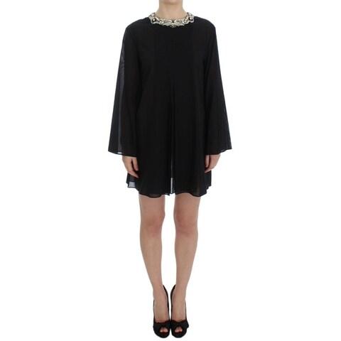 Dolce & Gabbana Dolce & Gabbana Black Cotton Crystal Collar Dress - it38-xs