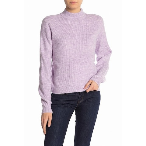 free press Women's Purple Large L Ribbed Knit Turtleneck Mock Sweater