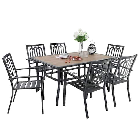 PHI VILLA Outdoor Patio Dining Set 7 Piece with Wood Like Rectangular Table and 6 Steel Dining Chairs