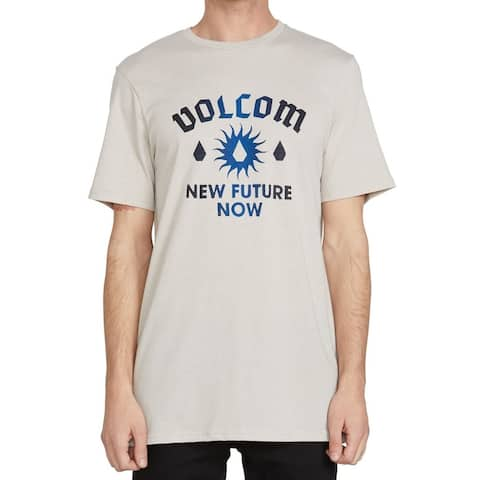 Volcom Mens T-Shirt Beige Size XL Sun Future Now Crewneck Graphic Tee 133