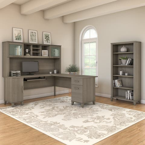 Copper Grove Shumen Ash Grey 72-inch L-shaped Desk with Bookcase
