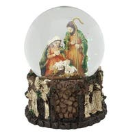 "5.5"" Christmas Nativity Holy Family Musical Snow Globe Decoration - brown"