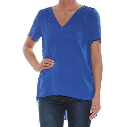 MICHAEL KORS Womens Blue Lace Pleated Short Sleeve V Neck Blouse Wear To Work Top Plus Size: XS