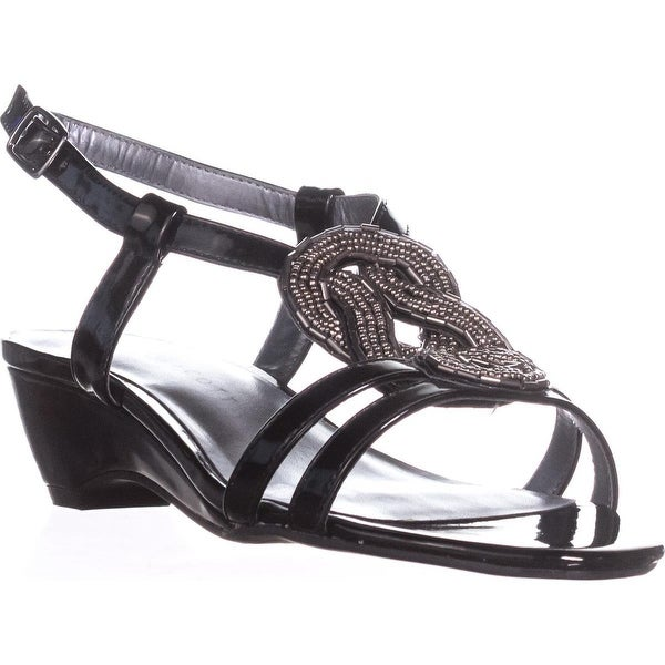 KS35 Clemm Low-Heel Dress Sandals, Black