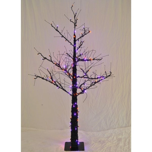 Christmas at Winterland WL-DTR-4.5-LPU/OR 4.5 Foot Pre-Lit Halloween Tree with Purple and Orange LED Lights Indoor / Outdoor