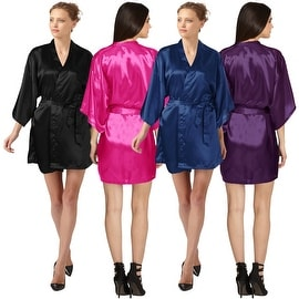 Sexy Womens Plain Satin Soft Charmeuse Kimono Bathrobe Belt Robes Set Lingerie