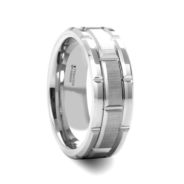 Warwick Beveled Tungsten Carbide Wedding Band With Brush Finished Center And Alternating Grooves