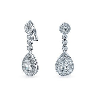 Bling Jewelry CZ Teardrop Bridal Drop Earrings Clip On Rhodium Plated brass