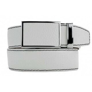 Nexbelt Go-In! Pebble Grain Winner White Leather Strap Dress Belt